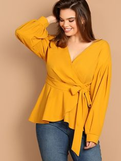Shop Plus Pleated Sleeve Surplice Neck Peplum Blouse online. SHEIN offers Plus Pleated Sleeve Surplice Neck Peplum Blouse & more to fit your fashionable needs. Blouse Peplum, Party Wear For Women, Ladies Party, Fuschia Dress, Sport Outfit, Indian Party Wear, Mode Plus, Yellow Blouse, Party Wear Dresses