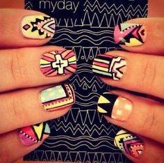 boho nail art, etnic