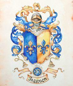 Hansen family crest / coat of arms in watercolor.