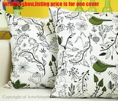 Decorative Throw Pillow Case Cushion Cover by artwhitepear on Etsy, $11.95