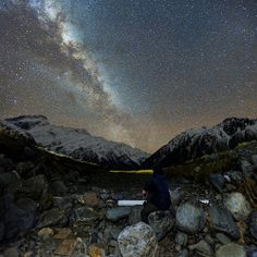 Dry Riverbed Under The Stars  #aoraki #mount_cook #nz #milky #stars #night #vertorama #nikon #d600