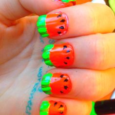 Sorry about the writing on my hands... Watermelon nails <3