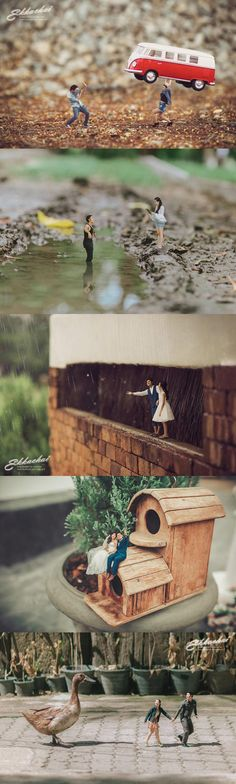 This Wedding Photography With Miniature Couple Is Spectacular Thai wedding photographer, Ekkachai Saelow, turned the blissful couple into miniatures with his outstanding work. Wedding Photography Poses, Macro Photography, Creative Photography, Couple Photography, Creative Photos, Cute Photos, Cool Pictures, Miniature Photography, Affinity Photo