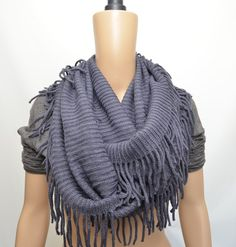 Crochet infinity scarf with fringe