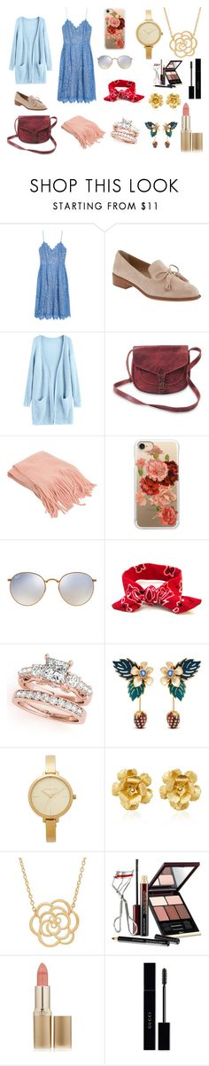 """blue sweet"" by giovanabenites ❤ liked on Polyvore featuring H&M, Banana Republic, Casetify, Ray-Ban, Mulberry, Michael Kors, Jennifer Behr, Lord & Taylor, Kevyn Aucoin and L'Oréal Paris"