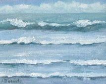 Jennifer Boswell Original Modern Imressionist  Surreal Abstract Textured Palette Knife Surf Waves Clouds Seascape Oil Painting 6x8 Canvas
