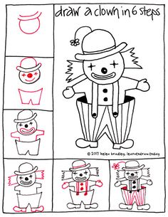 How to draw a cute clown in six steps : Learn To Draw