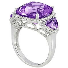 Overnight Mountings Three stone amethyst and diamond fashion ring