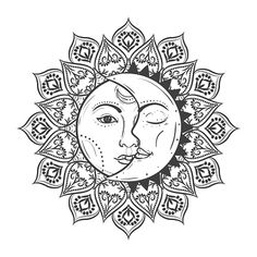View top-quality illustrations of Sun Eclipse Concept Vector Illlustration Of Astronomy And Astrology Symbol. Find premium, high-resolution illustrative art at Getty Images. Mandala Art Lesson, Mandala Drawing, Mandala Tattoo, Sun Drawing, Moon Sun Tattoo, Sun Tattoos, Palm Size Tattoos, Tattoos Skull, Tatoos