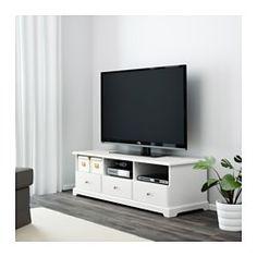 IKEA - LIATORP, Mueble TV, blanco, , Cajones de apertura suave con tope para que no se puedan sacar del todo.La abertura de la parte trasera es muy práctica para tener los cables recogidos y organizados.