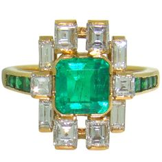 18K Yellow Gold, Emerald & Diamond 1950's Ring. The blonde in the pic.