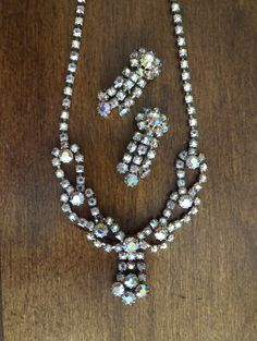 Vintage Aurora Borealis Rhinestone Necklace by GoldenBeeAntiques