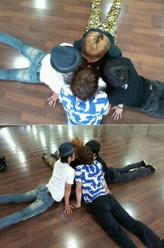 """On June 2nd, Super Junior's Eunhyuk attached the above photo to tweet and wrote """"Either we are stretching or having a conference about our choreography""""."""
