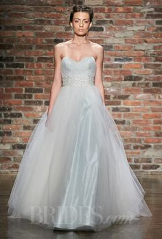 Jim Hjelm - Fall 2014. Style 8415, ivory/cloud tulle ball gown wedding dress, strapless sweetheart crisscross bodice, crystal embroidery at waist, chapel train, Jim Hjelm