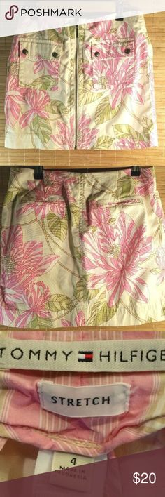 "Tommy Hilfiger Zipper Front Mini Skirt Pink Women's Tommy Hilfiger Zipper Front Skirt Size 4  Floral Print Waist 28"" Length 15 1/2"" Color: Pink Tan Ivory Green Tommy Hilfiger Skirts"
