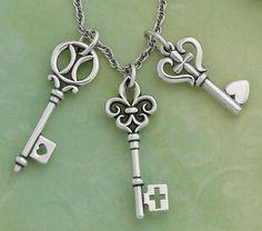 Key of Devotion Pendant, Key of St. Mary Pendant, and Key of Faith Pendant #jamesavery #jewelry