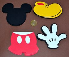 Mickey Mouse themed set of 20 Die cuts great for favor tags and scrapbooking. Mickey Mouse First Birthday, Mickey Party, Mickey Mouse Clubhouse, Mickey Minnie Mouse, 2nd Birthday, Mickey Mouse Crafts, Disney Crafts, Mickey Hands, Disney Classroom