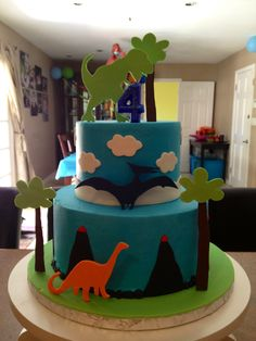 Dinosaur Cake - matches the party decorations we bought yesterday!