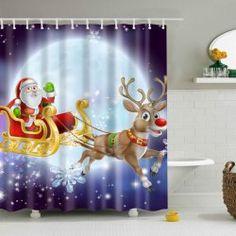 Waterproof Santa Elk Printed Bathroom Christmas Shower Curtain