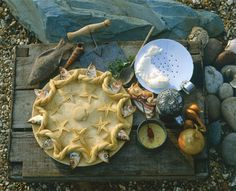 Stargazey Pie. A traditional Cornish dish with pilchard heads sticking out gazing up at the stars.