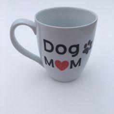 Dog Mom, 16 oz bistro mug, any saying, animal lover, dog lover by RAmysCraftRoom on Etsy