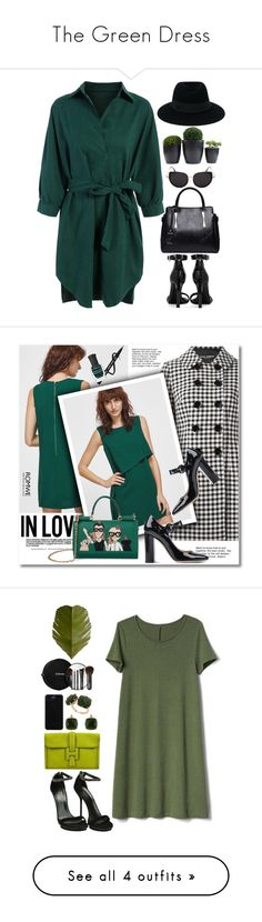 """""""The Green Dress"""" by barbiecar ❤ liked on Polyvore featuring Yves Saint Laurent, Maison Michel, GREEN, shirtdress, rosegal, Dolce&Gabbana, Gianvito Rossi, Deborah Lippmann, Gucci and Gap"""