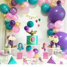 Ideas para Cumpleaños: 80 ideas para decorar cumple de Shimmer y Shine Aladdin Birthday Party, 4th Birthday Parties, Shimmer Y Shine, Princess Jasmine Party, Arabian Party, Princesa Jasmine, Bday Girl, Party Activities, Diy Party