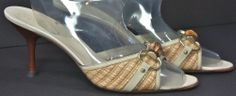 Women's Gucci Beige Leather & woven Straw Sandals Heels Size 8½ B   #Gucci #KittenHeels
