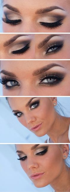 beautiful eye makeup with a medium bleach crease with bright gold white pigment color getting lighter as you proceed to the brow brown. finish with a nice thin raccoon winged eyeliner