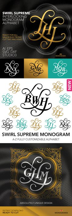 MONOGRAM ALPHABET: Swirl Supreme Interlocking Monogram Alphabet.  Includes the following file formats: SVG, Studio3, DXF, EPS and Ai.  With this Swirl Supreme Interlocking Monogram Alphabet you can easily create your original monogram to use it in digital form or printing or cutting. All you need is at your fingertips. This unique Swirl Supreme Interlocking Monogram Alphabet will come in handy in many holiday crafting projects including invitation, anniversary and birthday cards and other…