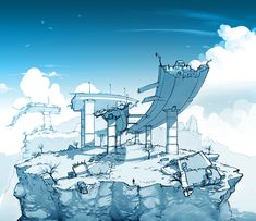 Yet another piece of concept art for Capcom's remake of Bionic commando. This image is in a very different style to the others, i wanted nice clear. Environment Design, Blue Art, Source Of Inspiration, Storytelling, Worlds Largest, Concept Art, Original Art, Scene, Deviantart