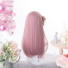 Kawaii Pink Lolita Straight with Bangs Wig - Kuru Store Lolita Cosplay, Kawaii Cosplay, Cosplay Wigs, Anime Cosplay, Full Hair, Hair Tools, Synthetic Hair, Pastel Pink, Wig Hairstyles