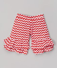 Another great find on #zulily! Red Chevron Ruffle Shorts - Infant, Toddler & Girls by Beary Basics #zulilyfinds