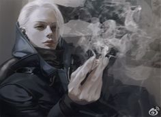 厚塗り タバコ 煙 白髪