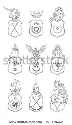 Vector Heraldic Royal Crests Coat Of Arms Heraldry Template On