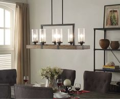 This Farmhouse Chandelier features a rectangular shaped frame in warm brown wood and distressed bronze metal with seeded glass shades. This six light fixture is perfect for use in a living room, dining room, or as island lighting. | eBay!