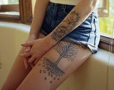 Tree thigh tattoo - 55 Thigh Tattoo Ideas  <3 !
