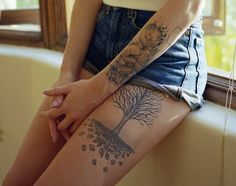 Tree thigh tattoo- 55 Thigh Tattoo Ideas   Showcase of Art & Design