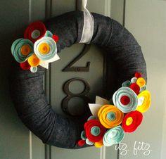 HOUSEWARMING GIFT......Yarn Wreath Felt Handmade Door Decoration  Denim 12in by ItzFitz, $45.00