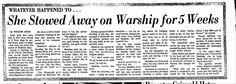 USS Arizona - newspaper clipping on Stowaway Madeline Blair