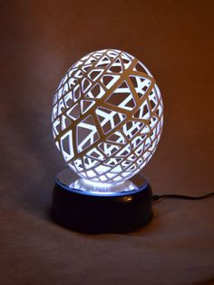 """Lattice""   Carved Ostrich Egg"