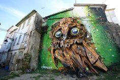 Street art: une magnifique sculpture de hibou avec des matériaux de recyclage street art magnifique sculpture de hibou en materiau recycles arthur bordalo 6