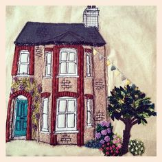 Homebroideries - handmade textile portrait of your house. These are hand and machine embroidered. Working from your photo your personalised portrait is created. They make a lovely housewarming gift or keepsake. Freehand Machine Embroidery, Free Motion Embroidery, Machine Embroidery Projects, Hand Embroidery Patterns, Embroidery Applique, Machine Applique, Embroidery Designs, Le Petit Champlain, Landscape Art Quilts