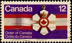 Canada.  Order of Canada.  Order of Canada, 10th anniversary.  Scott 736 A363, Issued 1977 June 30,  Litho. & Embossed, 12c. /ldb.
