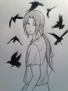 The crows look like they don't belong there somehow, I made them look too wallpaperish. Itachi Uchiha © Masashi Kishimoto