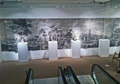 Antique scenic wallpaper exhibit in New York: feet of rare grisaille by Dufour, exclusive reproductions by Holly Alderman, only at CHARLES SPADA, Boston Design Center Scenic Wallpaper, Antique Wallpaper, Wallpaper Panels, Original Wallpaper, Grisaille, Art Reproductions, Exhibit, Boston, Bond
