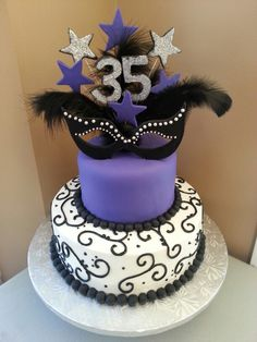 Masquerade themed birthday cake. Kakes by Kena