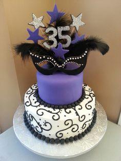 Masquerade themed birthday cake. Kakes by Kena