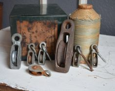 Collection of 7 Vintage Pulleys - Cast Iron - Unique Farm Tool Display - Industrial Decor - Hanging Display Hook - Small Medium