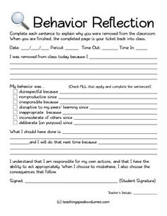 After several warnings the student takes a form (I keep them on a clipboard) into the hallway or a colleague's classroom. The completed form is his/her ticket back into class.   Besides dealing with repeat offenders, this is also very effective to separate a student who is acting out distracting others.  Recurring issues written in the student's own handwriting is very powerful during parent conferences, and can be attached to discipline referrals if needed.